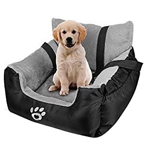 FAREYY Dog Car Seat for Small Dogs or Cats, Pet Booster Seat Travel Dog Car Bed with Storage Pocket and Clip-On Safety Leash, Washable Warm Plush Dog Car Safety Seats