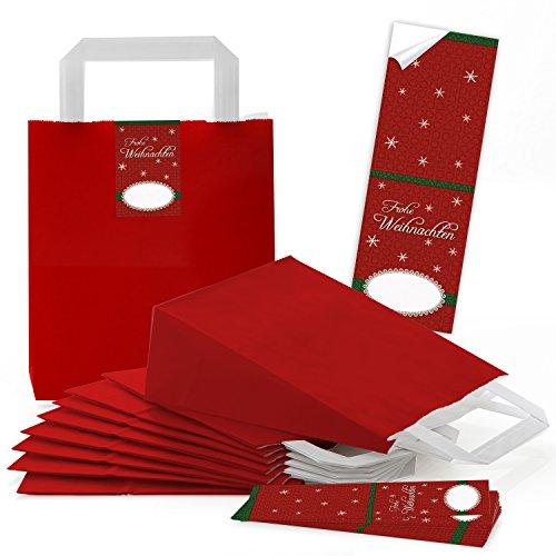 25 rote kleine Papiertüten Geschenktüte Boden rot Henkel 18 x 8 x 22 cm + 25 Aufkleber Weihnachten Tüte weiß Verpackung Weihnachtsgeschenk Geschenk-Tüte