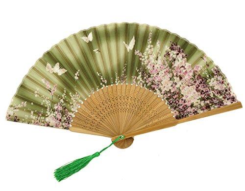 FEOYA Abanico de Bambú Plegable Flores Japonés con Cubierta para Boda Fiesta Ceremonia - Verde