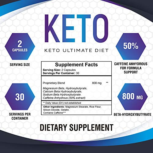Keto Ultimate Diet - Ketogenic Diet Supplement with Beta Hydroxybutyrate Ketone Salts - Boost Energy and Metabolism - Keto Pills 60Caps 2