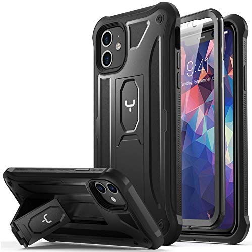 YOUMAKER für iPhone 11 Hülle, Handyhülle für iPhone 11, Kickstand mit eingebautem Bildschirmschutz, stoßfeste Hülle für iPhone 11 Vollkörperschutz für iPhone 11 6,1 Zoll (2019) – Schwarz