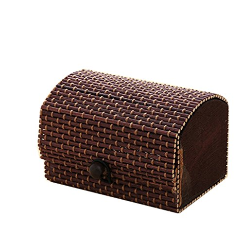 display08 Boîte de rangement créative en bambou - Boîte à bijoux - Café foncé