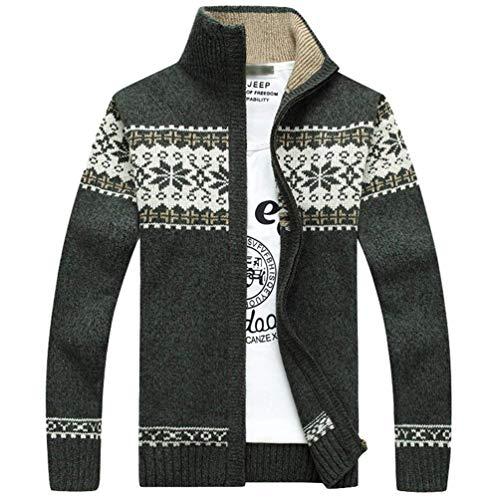 Nvfshreu heren jacquard trui rits vest slanke vrije tijd fit lange mouwen eenvoudige stijl Clásico Stand kraag winter gebreide jas met rits