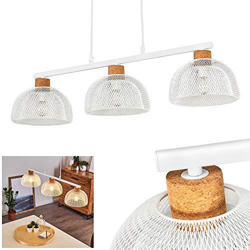 Suspension Besancon en liège et métal blanc, lampe pendante vintage idéale au dessus d'une table rétro, hauteur max. 150 cm, 3 abat-jours grillagés pour 3 ampoules E14 max. 60 Watt, compatible LED