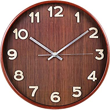Utopia Home Large Decorative Wall Clock - Universal Non-Ticking Wall Clock - by (Dark Brown)