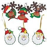 Santa and Reindeer Christmas Ornament Kits, Set of 24 Foam Christmas Crafts for Kids