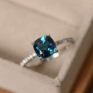 Lzz Fashion Lady Ring Elegant Silver Plated Flash Princess Triangle Diamond Blue Diamond Ring Blue Gem Cubic Zirconia Single Stone Ring Wedding Jewelry Size 6-10 (US Code 6)