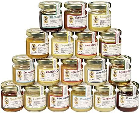 18x 50g set de degustación de miel | Set de regalo: natural, miel para conocer, la combinación varía (del apiario Nordheide)