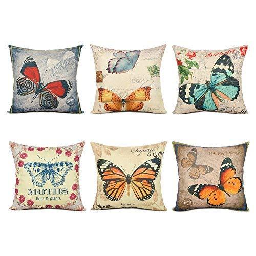 Topfinel Federe cuscini con stampa colorata per decorare letti e divani, in cotone e lino 6 pezzi dimensioni 45X45CM Farfalla