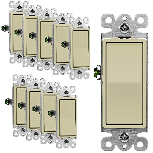 ENERLITES 3-Way Decorator Paddle Rocker Light Switch, Single Pole or Three Way, 3 Wire, Grounding Screw, Residential Grade, 15A 120V/277V, UL Listed, 93150-I-10PCS, Ivory (10 Pack)