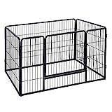 FEANDREA Welpenfreigehege Welpenzaun Hundegehege Laufstall Zaun Gitter Hasen Kaninchen schwarz 119 x 77 x 70 cm PPK74H