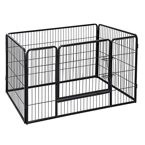 FEANDREA Recinto Recinzione per Cani Cuccioli roditori Animali Rete Gabbia di Ferro Nero 4pz 119 x 77 x 70 cm PPK74H