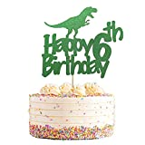 Dinosaur Cake Topper 6, Glittery Happy 6th Birthday Dinosaur Cake Toppers for 6 Year Old Boys and...
