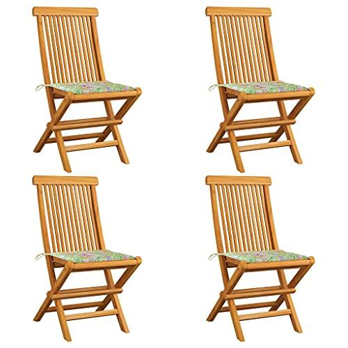 vidaXL 4X Madera de Teca Sillas de Jardín Cojines Sillón Exterior Balcón Terraza Patio Asiento Butaca Muebles Mobiliario Estampado Hojas
