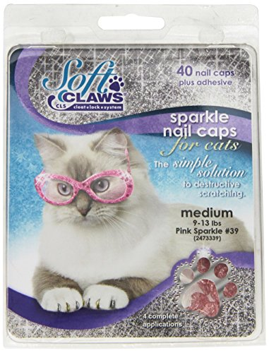 Soft Claws Inc Feline Doux Pince à Ongles caches, Medium, Rose Sparkle