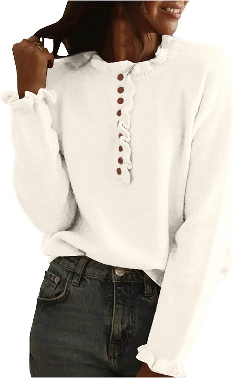 Women's Long Sleeve Ruffle Knit Sweater Crew Neck Solid Color Pullover Jumper Tops Casual Slouchy Loose Blouses Jumper Tops