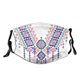 Comfortable Windproof mask,Ethnic African Geometric Design Aztec Style Bohemian Festive Print,Printed Facial decorations for adult