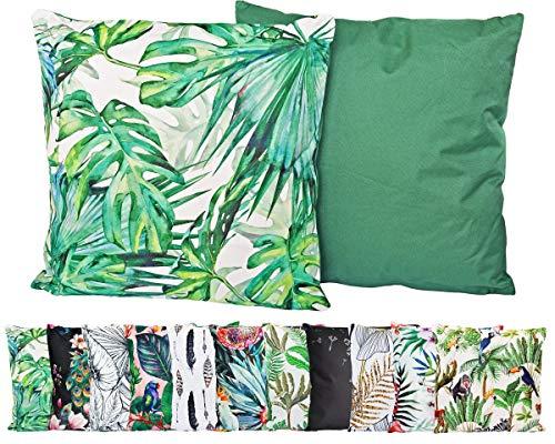 JACK Outdoor Lounge Kissen 45x45cm Motiv Dekokissen Wasserfest Sitzkissen Garten Stuhl, Farbe:Monstera