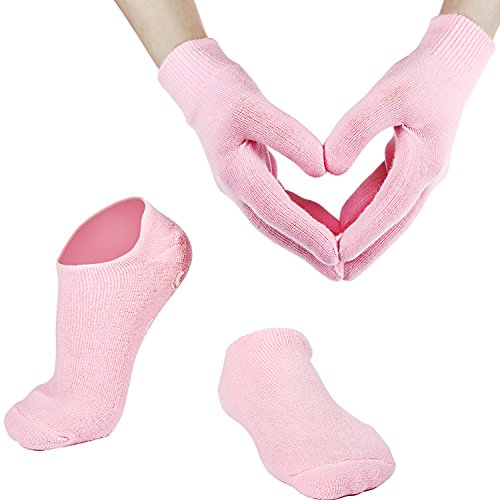 Weiche Baumwolle Gel Feuchtigkeitsspendende Spa Handschuhe und Socken für Gebrochene Trockene Haut für Damen und Männer (Pink)