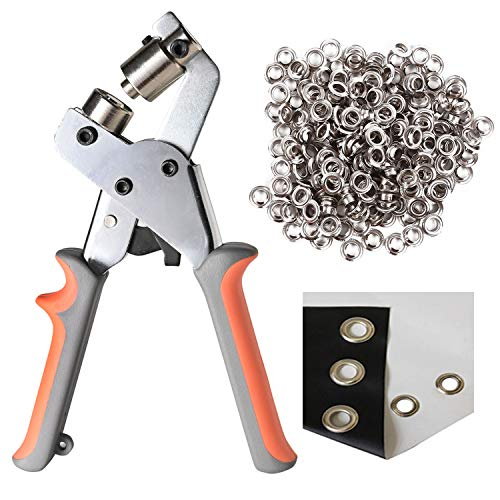 LACUISINE Grommet Hand Press Kit Handheld Hole Punch Pliers Portable Grommet Machine Tool Manual Puncher w/ 500pcs Silver Grommets of 3/8 Inch (10mm)