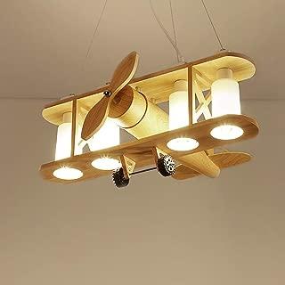 Belief Rebirth Airplane Model Hanging Lighting Fixture - Vintage Decorative Wooden Biplane Pendant Light 4 Lights - Suspension Lamps for Kids Room, Nursery, Boys Girls Bedroom (Color : Wood Color)