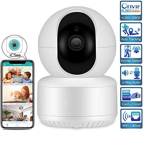 H.265 1080P WiFi IP Camera Auto Tracking Human Detect Wireless Home Security Camera SD Card Audio Alarm CCTV Video Surveillance 1080P-64GB