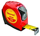Starrett KTX1-25-N-SP01 Exact Tape Measure, 1' Wide x 25', Graduated in 1/16', with Over molding for Improved Grip