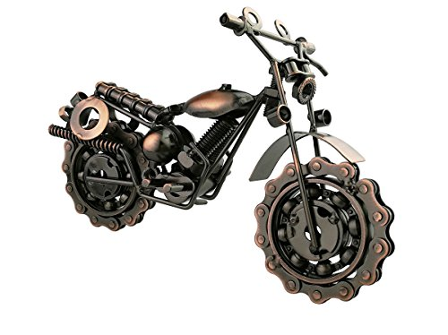 Winterworm Creative Retro Iron Art Motorcycle Model Metal Moto Collection Simple Modern Home Decor Ornaments for Motorcycle Lovers Christmas Birthday Gifts (Copper)