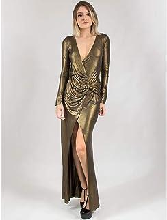 Vestido Longo De Malha Lamê Com Fenda