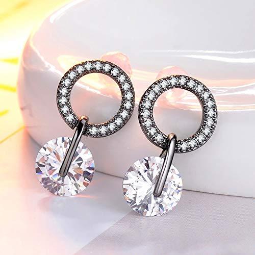 Pendientes de gota de circonita cúbica brillante de estilo para mujer, 4 colores, pendientes delicados para mujer, joyería blanca y negra, chapada en pistola