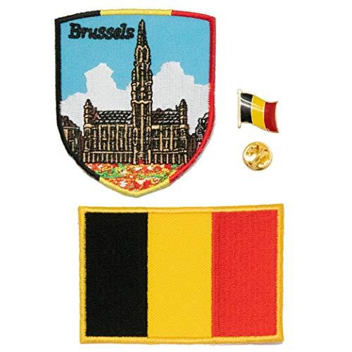 A-ONE 3 Stück – Belgien Brüssels Flagge Schild + Belgische Flagge Tasche Patch + Belgien Emblem Pin Brugge bestickte Aufnäher Offizielles Revers-Abzeichen