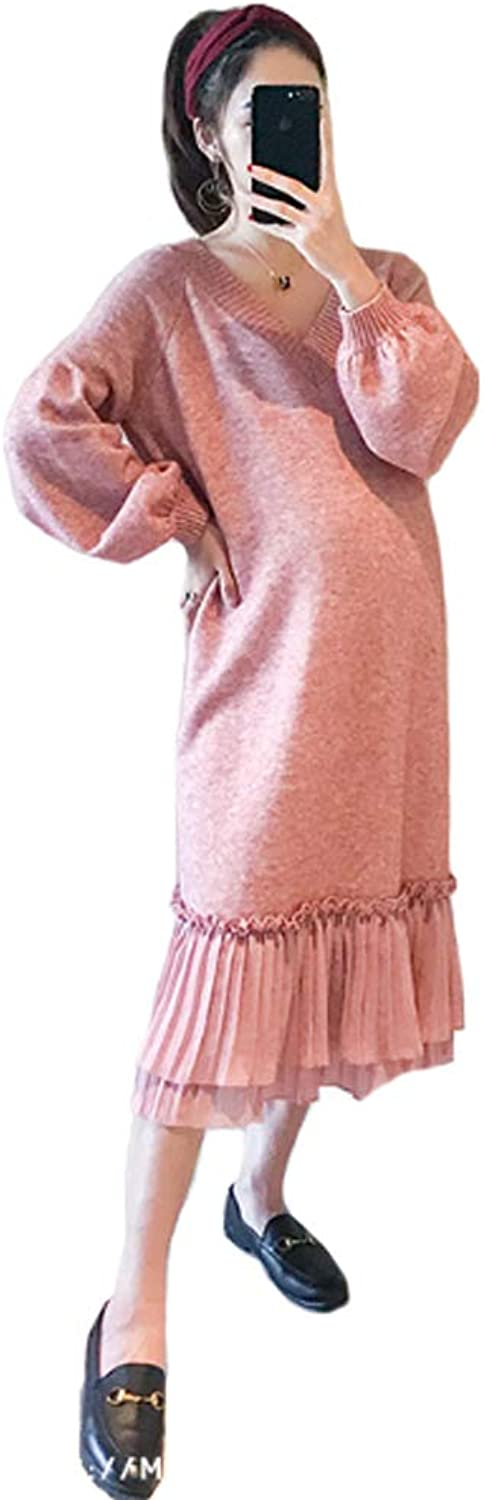 Maternity wear  Pregnant Women Loose Dress Autumn Fashion Section 2018 Wave Mother VNeck Knit Sweater Large Size (color   Pink, Size   XL)