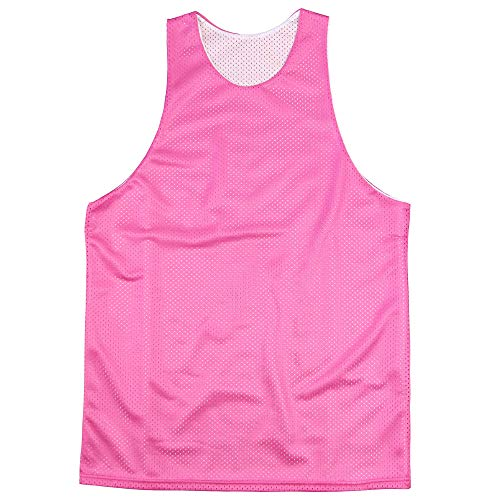 Reversible Basketball Jerseys Pinnies for Kids and Adults (Pink/White, Youth Medium or Adult XX-Small)
