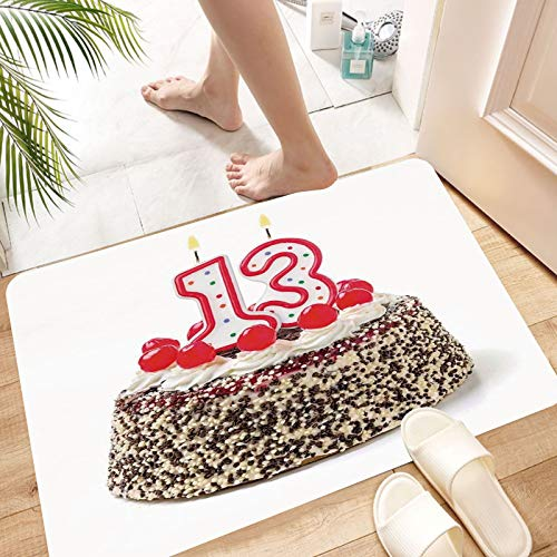 Bathroom Non-slip Mat Bath Mat Microfiber,13th Birthday Decorations,Cake with Numeral Candles and Cherries Yummy Des,Memory Foam Floor Rug ,Soft Machine Washable Absorbent for Shower Toilet 50 x 80 cm