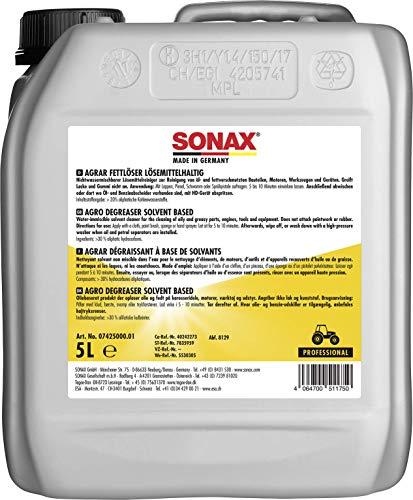 SONAX AGRAR FettLöser lösemittelhaltig (5 Liter) für verhärtete Fettbeläge an Hydraulik, Lenkung und Motor sowie zur Werkzeugreinigung | Art-Nr. 07425000