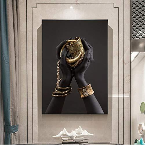 YCCYI Pinturas en Lienzo Mano de Mujer Negra con Joyas de Oro Arte de la Pared Carteles e Impresiones Imágenes de Arte Africano Decoración de la Pared del hogar 40x70cm (16x28in) Marco Interior