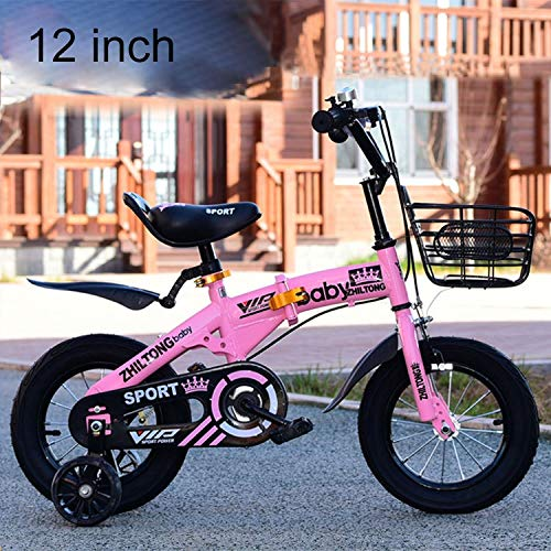 Luoshan ZHILTONG 5166 12 inch Foldable Portable Children Pedal Mountain Bike with Front Basket & Bell, Recommended Height: 90-105cm(Pink) (Color : Pink)