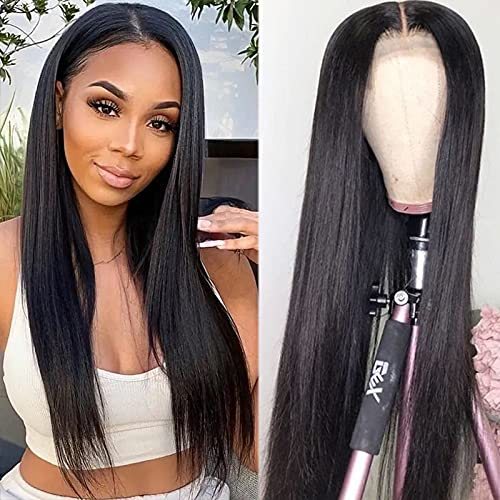 Straight Lace Front Wigs Human Hair for Black Women Brazilian Virgin Hair Straight Lace Frontal Wigs Pre Plucked with Baby Hair Natural Color (20 Inch,150% Density)