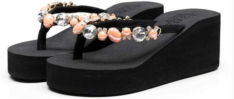 Women's fashion high-heeled flip-flops, summer wear thick-soled skid wedge sandals, rhinestone beach slippers