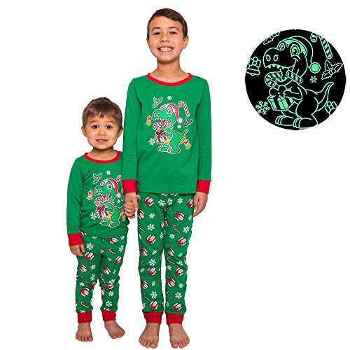 Pajamas for Boys - Glow In The Dark - Dinosaur - Space Astronaut - Shark - Christmas (Green Christmas Dinosaur, 6 Years)