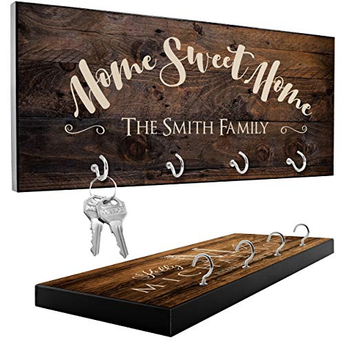 Personalized Key Holder with 12 Design, 3 Rich Wood Options | Housewarming Gift for Couples, Custom Key Ring Holder for Wall, Wedding Gifts for Couple - Mr Mrs Key Rack