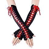 JISEN Womens Full Length Fingerless Lace Up Arm Warmer Satin Gloves Red