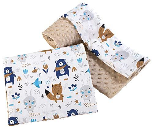 Babydecke Krabbeldecke mit Kissen 100% Baumwolle MINKY Kinderdecke groß zweiseitig 75x100 + 35x30cm multifunktional für Bett Kinderwagen Medi Partners (Boho animals mit beige Minky), 5903031426977