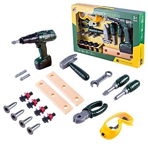Oeasy Maletín de herramientas para niños, 23 piezas, juego de ruedas, caja de herramientas, juguetes educativos para niños, niños pequeños, niñas, 3 años de edad