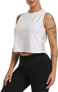 Zcavy Mesh Crop Top Sports Yoga Shirts Muscle Tank Tops Cute Gym Shirts Running Workout Tops for Women