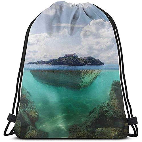 jenny-shop Gedruckte Rucksackbeutel mit Kordelzug, schwimmender Felsen und Leuchtturm in kristallklarem atlantischem Wassernebel-Naturfoto