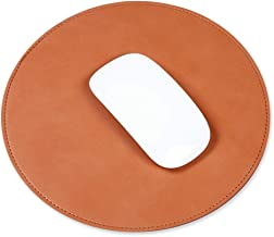 ProElife Home/Office Round Premium PU Leather Mouse Mice Pad Mat Smooth Surface Non-slip Noiseless for Magic Mouse Surface Mouse Mice and Wired/Wireless Bluetooth Mouse (Brown)