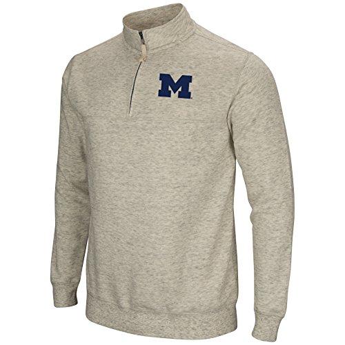 Colosseum NCAA Michigan Wolverines Men's Stapler Heather Grey 1/4 Zip (X-Large)