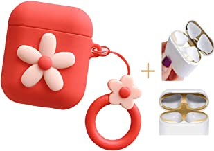 Wcysin AirPods Case with Clip and Dust Guard, Vivid Daisy Silicone Soft Skin for Apple Airpods Girls and Women (Red)