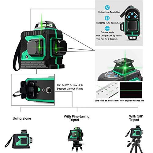 Laser 25M, Kreuzlinienlaser 3 x 360 grüner Laserpegel selbstnivellierend, grüner Strahl 3D 12 Linien, IP 54 Linienlaser Vertikale und Horizontale Linie (inklusive 3pcs Batterie) - 4